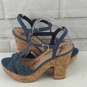 American Rag Jamie 9.5 blue denim floral sandals